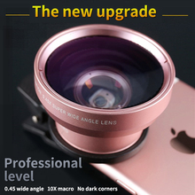 цена на Phone Lens Kit 0.45X Wide Angle + 10X Macro Lens Clip-on Cellphone Camera Without Dark Corner For All Phone