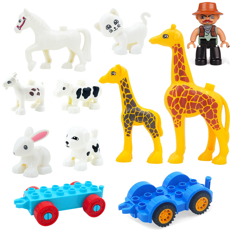 2020 Duplos Set Animals Model Farm Trailer Series Big Size Giraffe Building Block Accessories Educational Toys For Children Gift