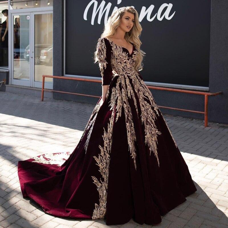Burgundy Muslim Long Evening Dress 2020 Velvet 3/4 Sleeve Arabic Gold Lace Ball Gown KaftanTurkey Prom Formal Dress Evening Gown