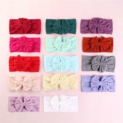 27 stks/partij Leuke Bow Soft Nylon Hoofdbanden Meisjes Brede Katoen Headwraps Hairwear Kerst Haaraccessoires voor Kinderen Kids