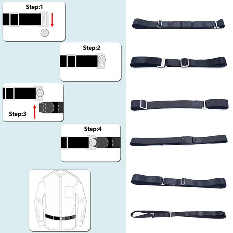 120cm Fashion Shirt Holder Adjustable Near Shirt Stay Best Tuck Belt For Women Men Accessories Work Interview Bretels Polyester