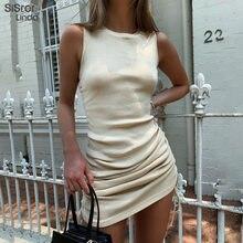 Sisterlinda-vestido ajustado informal para mujer, Vestido corto ajustado de punto con cuello redondo, sin mangas, a la moda, 2020