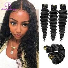 Braziliaanse diepe golf 4 stuks Machine Dubbele Inslag human hair extensions 8-30 inch natuurlijke zwarte kleur Trendy beauty haar Non-remy