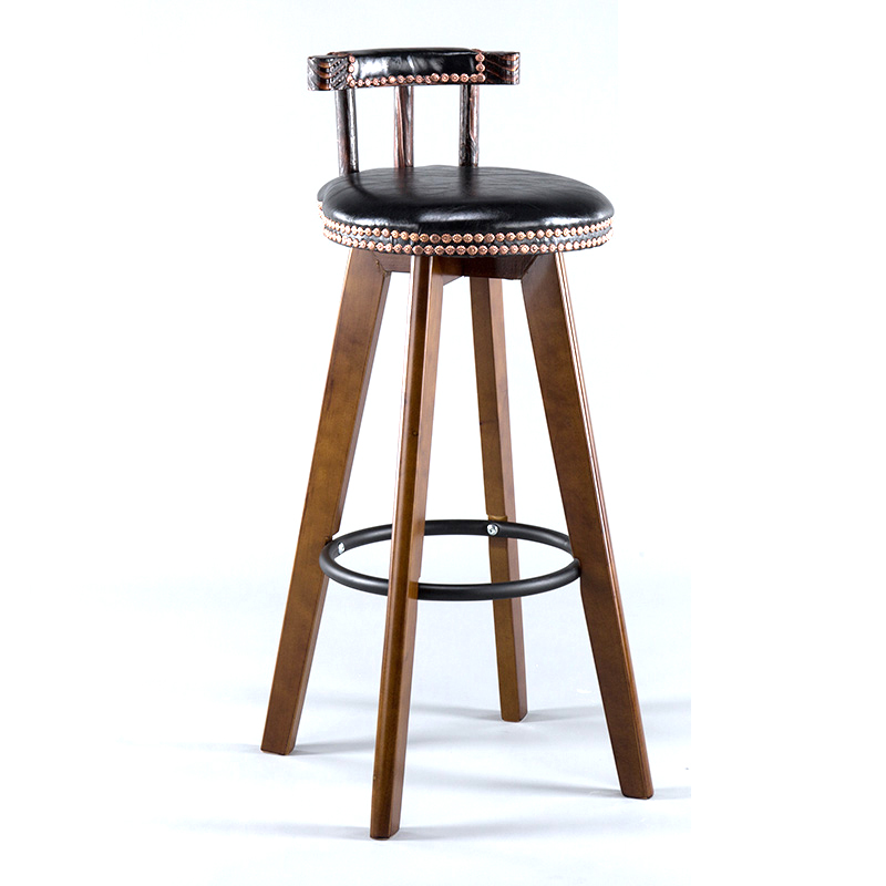 American Bar Chair Solid Wood Retro   Swivel Front  Home High Stool