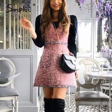 Simplee Vintage tweed autumn women dress Sleeveless v neck tassel pockets office ladies dress Winter slim female work vestidos