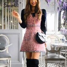 Simplee bağbozumu tüvit sonbahar kadın elbise kolsuz v yaka püskül cepler ofis bayanlar elbise kış ince kadın iş vestidos