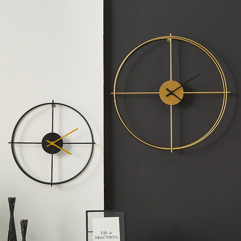>Nordic Black Gold Large Silent Wall Clock <font><b>Living</b></font> Room <font><b>study</b></font> <font><b>Office</b></font> Decoration Mute Metal Wall clock for Hotel Modern Decoration
