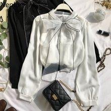 Neploe-chemisier en mousseline de soie pour femmes, manches longues, couleur unie, avec nœud papillon, nouvelle collection