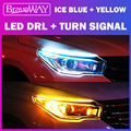 BraveWAY Flash LED Turn Signal(Yellow) + DRL (White/Blue) LED Lamps Waterproof Car Stickers DayLight T10 LED W5W Car Accessories