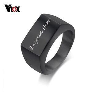 Vnox бесплатно на заказ гравировка кольца для мужчин Большая Ширина перстень кольца мужские ювелирные изделия из нержавеющей стали