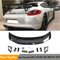 Carbon Fiber \/ ABS Car Rear Trunk High Boot Wing Lip Spoiler for Porsche 981 718 987 997 998 911 GT4 Spoiler Carbon Fiber