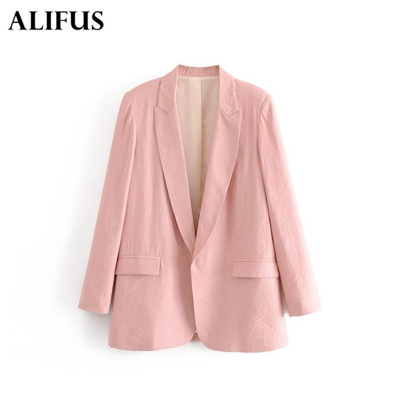 Fashion Za Women Cotton Grey/green/pink Button Blazer Breasted Office Wear Coat Female Casual Outerwear Women Suit Jack Tops