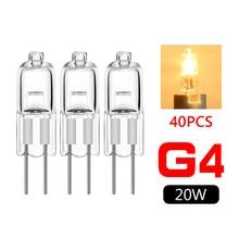 40 pçs mini g4 poupança de energia de tungstênio halogênio jc tipo lâmpada 12v 20w g4 spotlight para lâmpada de halogênio lustre de cristal