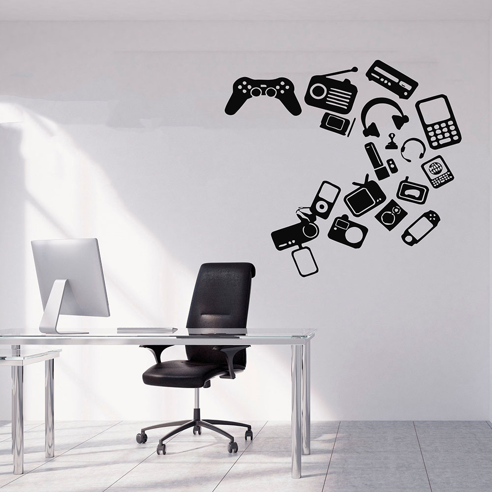 Gamer Wall Decal Game Controller Headset Personalized Playroom Teens Bedroom Club Interior Decor Vinyl Window Stickers Art E083 image