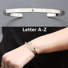 Personalized Simple Initial Bracelets 26 Letters Stainless Steel Cuff Bracelet Silver Plated Friendship Gifts