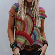 Yeni kısa kollu kadın T-Shirt 2021 yaz geometrik baskı bayanlar Tee üstleri yuvarlak boyun kadın günlük T-Shirt Vintage Streetwear