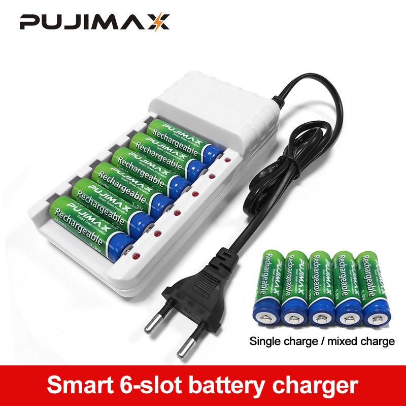 PUJIMAX 6 Slots <font><b>Batteries</b></font> <font><b>Charger</b></font> <font><b>AA</b></font> / <font><b>AAA</b></font> Ni-MH / Ni-Cd <font><b>Batteries</b></font> Rechargeable <font><b>Battery</b></font> EU Plug universal <font><b>battery</b></font> <font><b>charger</b></font> image