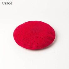 USPOP 2019 Women wool beret New black rhinestone berets female thick winter hats