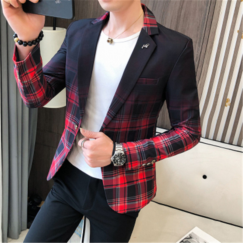 Men Blazer Homme Casual Suit Coat Slim Fit British Plaid Blazer For Men Designer Jacket Prom Dresses 2020 Spring Man Clothing