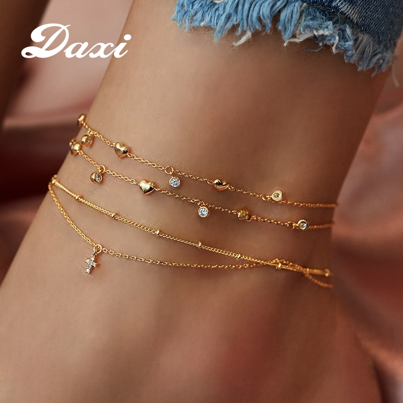 DAXI Boho Star Anklet Gold Anklets For Women Bohemian Crystal Moon Anklet Fashion Womens Jewelry Charm Ankle Chain Set