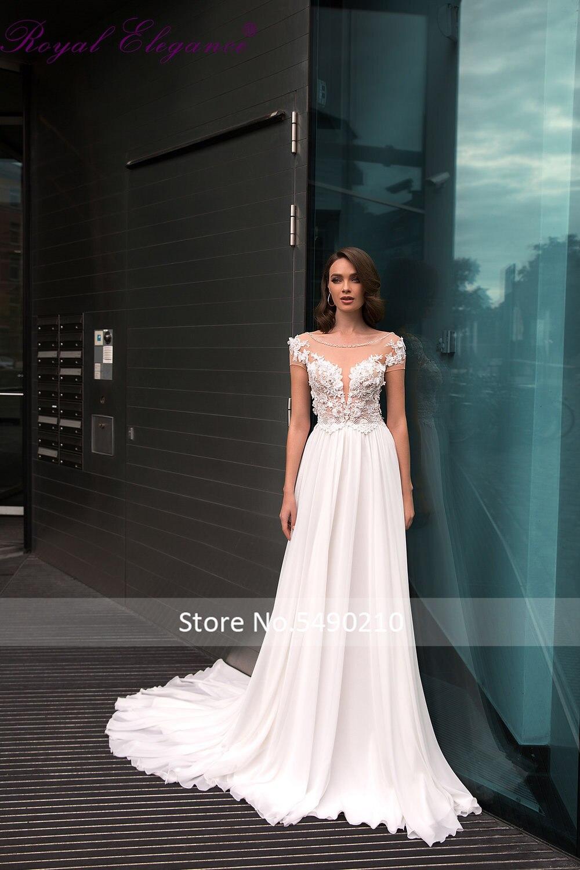 Royal Elegance Chiffon Beach Wedding Dress Short Sleeve Lace Applique Boho Bridal Wear Customs Made Alteler