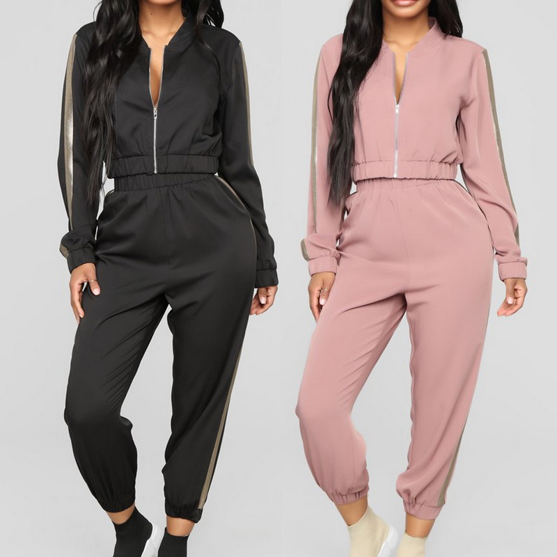 Women Two Piece Set Striped Tracksuit 2019 Sport Short Zipper Jacket+ Slim Pencil Pants Casual Autumn Fashion Matching Sets