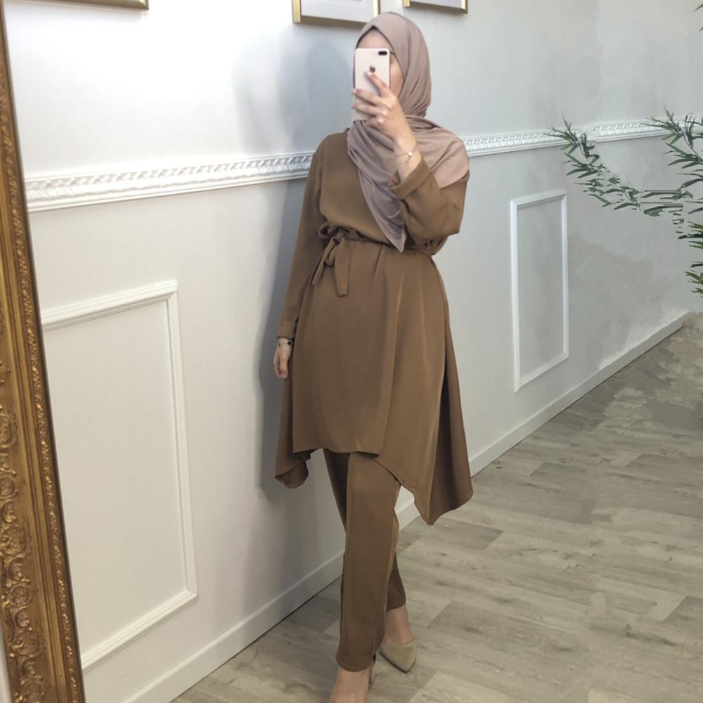 Turkish 2 Piece Set Women Muslim Sets Hijab Dress Pants Suit Outfit Top and Trouser Abaya Islamic Clothing Musulman Ensembles