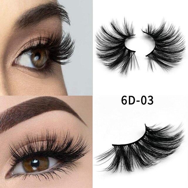 1 pair 6d Eyelash 25 mm Mink Eyelashes 5d Lashes 100% Mink Eyelashes Wholesale Long Eyelashes Crisscross 1 Box Makeup 2