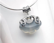 1026+++925 Sterling Silver Pendant Silver lock chalcedony Necklace female fish pendant clavicle Silver Necklace birthday gif(China)