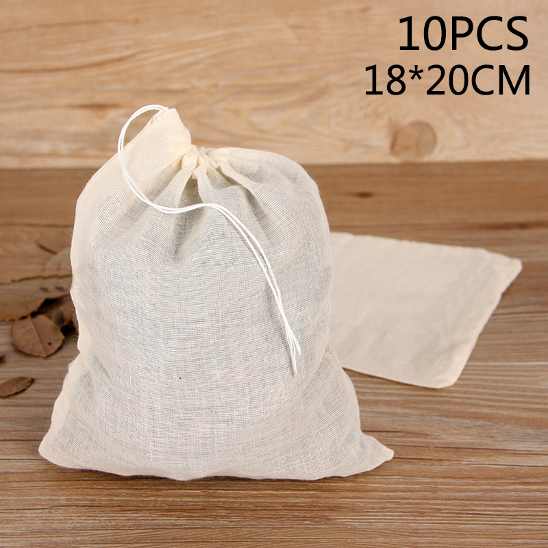 10pcs Reusable Food Filter Mesh Bag Nut Bean Muslin Fish Soup Cooking Boiling