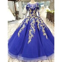 BGW 22010ht فستان سهرة أزرق ملكي برقبة على شكل حرف o طويل تول الأكمام طول الأرض فستان حفلة سهرة مع دانتيل لامع الصين بالجملة