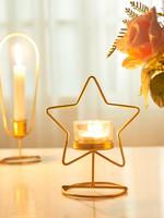 Golden Candlestick Setting Up Light Candlelight Dinner Home Table Creative Aromatherapy Candle Holder Cup Small