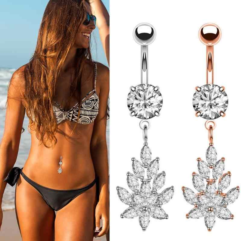 Belly Button Rings Navel Piercing Star Heart Round Crystal Jewelry Piercing Navel Earring Sexy Body Jewelry