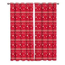 Świąteczne czerwone Moire i gwiazdy zaciemniające zasłony na okna zasłony do salonu zaciemniające zasłony kuchenne