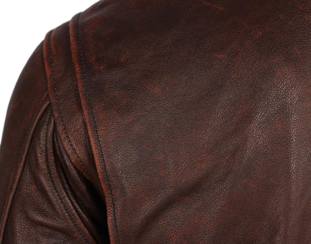 H328235e6795e48d6a27e241346d06008r Vintage Distressed Men Leather Jacket Quilted Fur Collar 100% Calfskin Flight Jacket Men's Leather Jacket Man Winter Coat M253