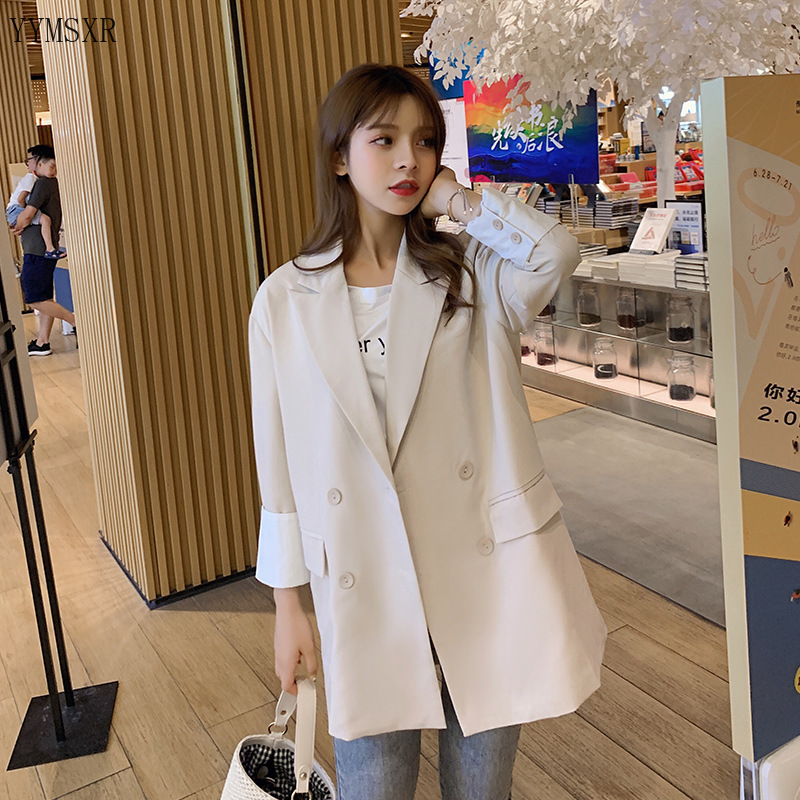 2020 New Ladies Jacket Feminine Casual Loose Solid Color Women's Blazer Coat Female Elegant Double-breasted Jacket
