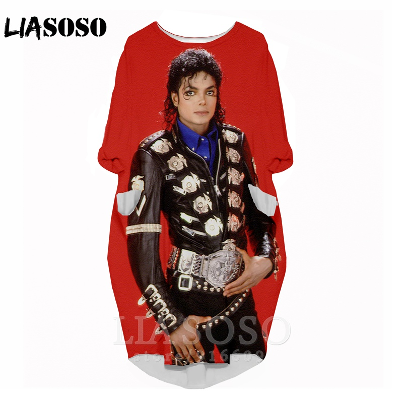 3D print fashion funny shirt suit rock Harajuku Michael Jackson top women anime gown logo girl clothing long-sleeved dress A127