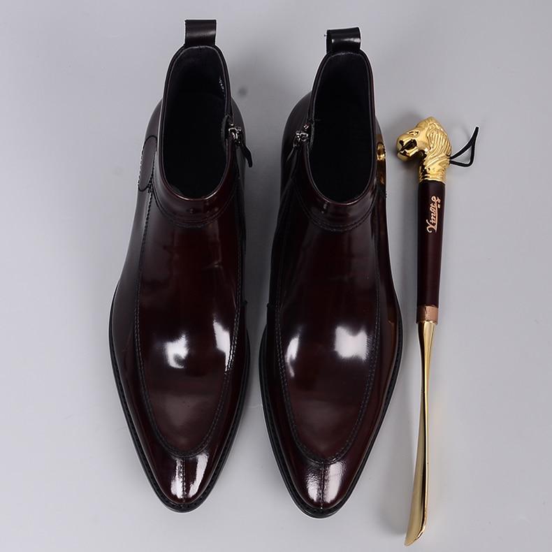 QYFCIOUFU 2019 mode hommes Chelsea bottes en cuir véritable Rome Style homme bottines à fermeture éclair homme robe chaussures marque chaussons - 3