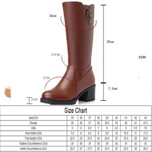 Image 2 - 2020 oryginalne skórzane buty damskie wysokie buty zimowe duży rozmiar 41 42 rosja lokomotywa kobiet
