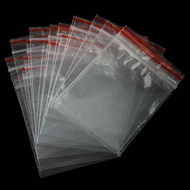 100 pces saquinho pochette transparente en plastique fermeture saco pochon pression 5x7cm