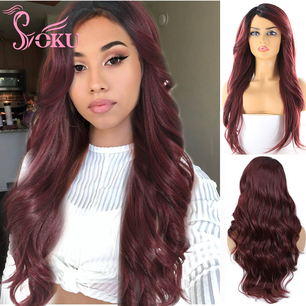 Ombre Black Red Synthetic Wigs 26 Inch Long Wavy Wig For Women Heat Resistant Fiber Hair SOKU Non Lace Wig Full Machine Made