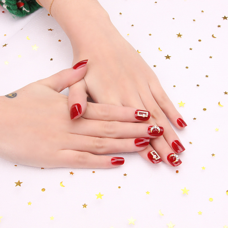 Finished Product Fake Nails Manicure Patch Short Manicure Office Wine Hong Xian White Nail Sticker Tablet 24 Piece Deconstructab