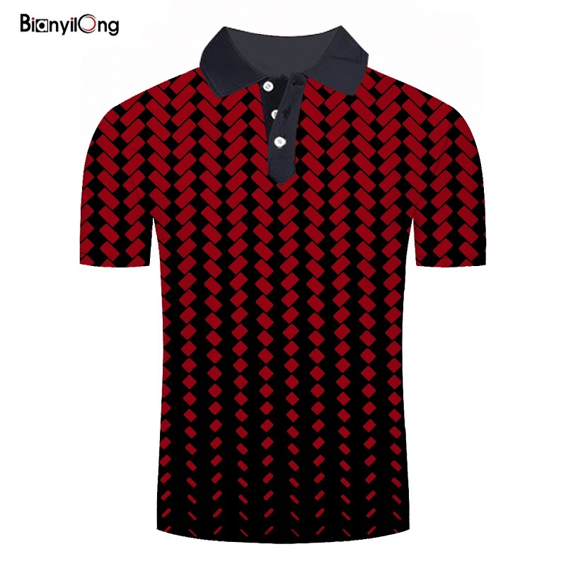 BIANYILONG 2019 New Arrival Men Polo Shirt Tops Red Rubik's Cube 3D Fashion Brand Plus Size Short Sleeve Polo Shirt Camisa Polo