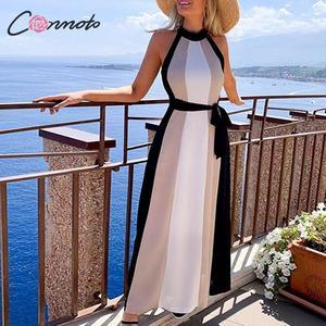 Image 1 - Conmoto Women Casual Patchwork Loose Long Holiday Beach Dress Female Halter Sleeveless Sashes Dress Ladies Plus Size Vestidos