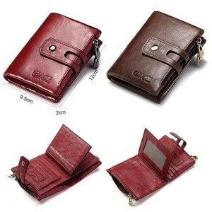 Image 3 - Portefeuille en cuir véritable pour femmes, porte monnaie court pour femmes, porte monnaie mode rouge, sac carte, petit loquet pour filles, Mini pochette de haute qualité