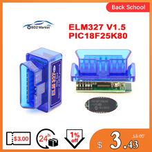 MINI PIC18F25K80 ELM327 V1.5 Bluetooth ELM 327 v1.5  OBD2 Scanner Diagnostic adapter scan tool OBD OBDII Code reader For ATAL