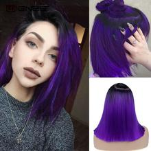 Wignee 2 Tone Ombre Purple Synthetic Wig for Women Middle Part Short Straight Hair High Temperature Cosplay Party Daily Hair Wig