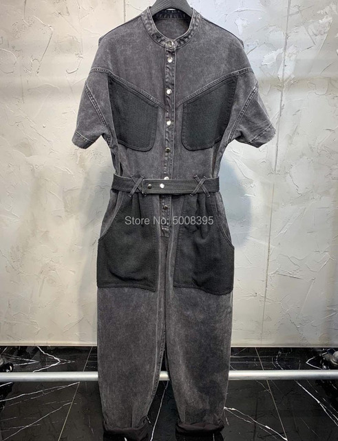 Woman Tundra Coal Gray Denim JUMPSUIT Snap-buttoned Front Back Big Pockets Breast Pocket Waist Belt Loops Short Sleeves