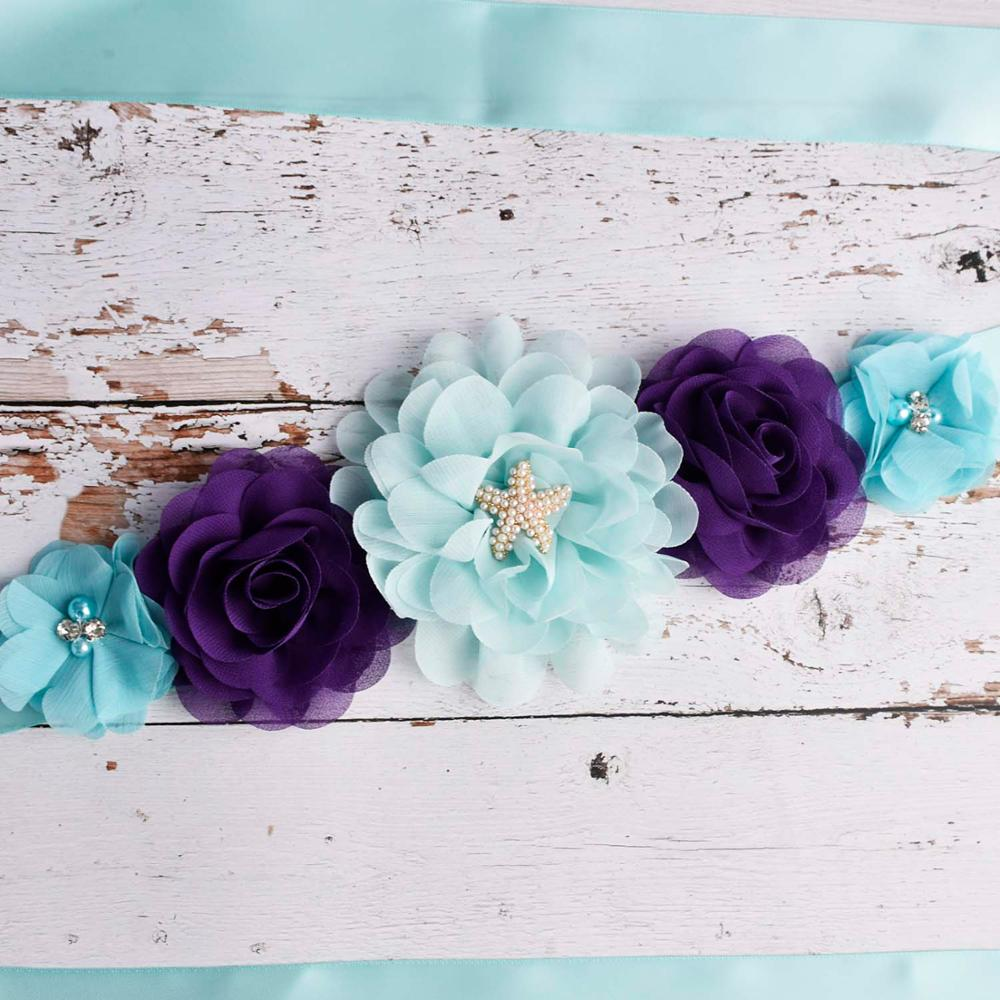 Aqua/Purple Mermaid Flower Sash Wedding Bridal Belly Belt Baby Shower Party Theeper Maternity Sash Women Photo Shoot Props