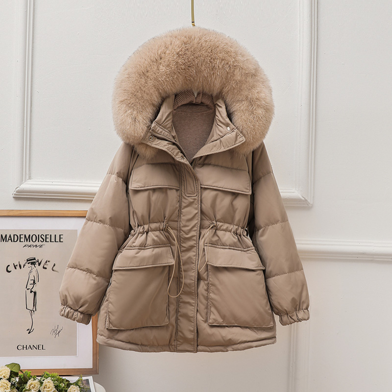Fitaylor 2020 Winter Real Natural Fur Hooded Jacket Women Thick White Duck Down Coat Casual Warm Snow Outwear Adjustable Waist